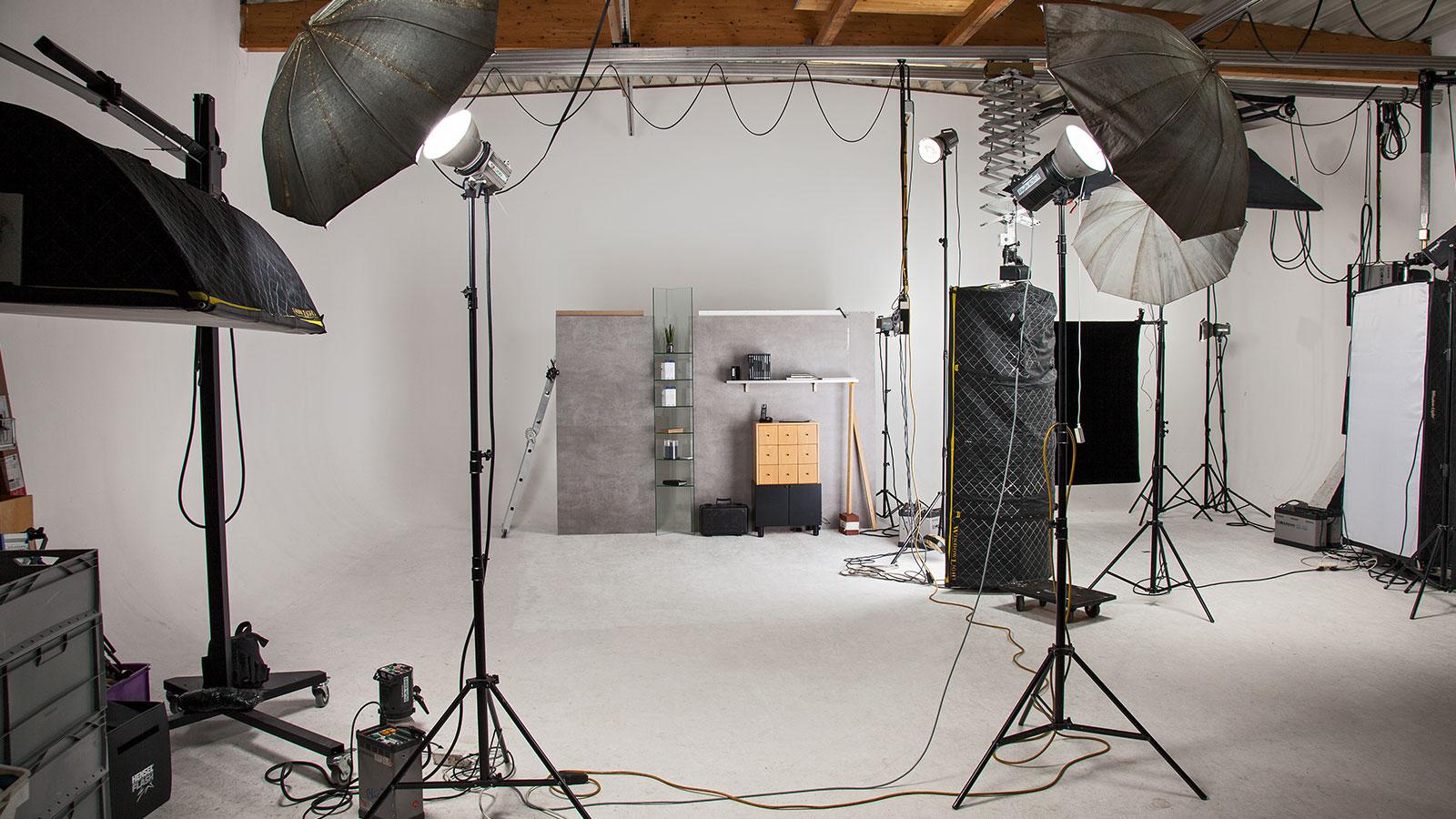 einfacher Aufbau im Fotostudio
